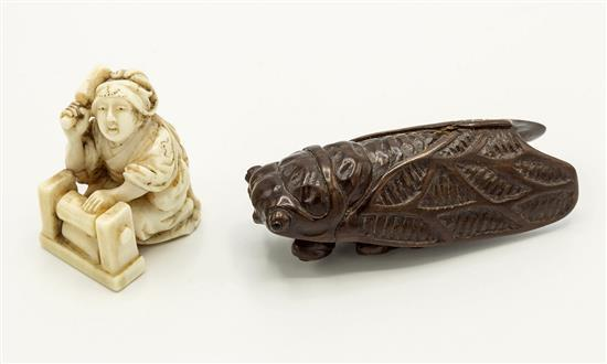 A japanese carved horn netsuke meiji period  mod