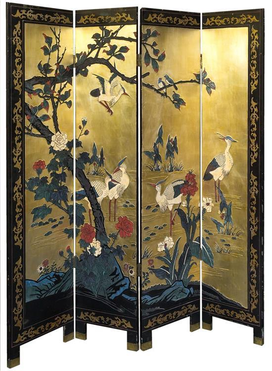 A japanese lacquered wood dressing screen s four fo