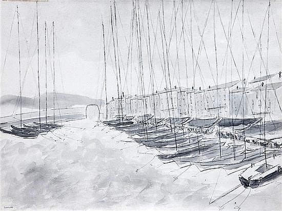 Aleksander Nowakowski (Polish, 1872-1935) The harbour