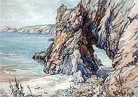 Arthur Bassett Waller (British, 1882-1975) Port du Moulin arch, Sark