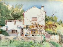 Arthur Bassett Waller (British, 1882-1974) Molly McCann and Leslie Harradine's house in Spainwatercolour on wove paper,