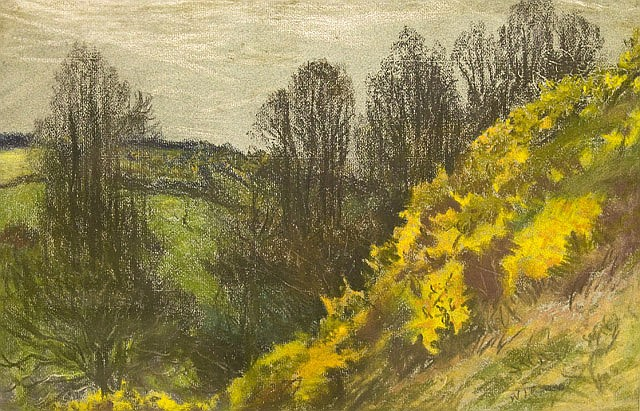 A watercolour by W. J. Caparne - Trees and Gorse, Talbot Valley, Guernsey