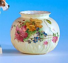 A Royal Worcester globular vase printed olive green factory marks with date code for 1903,