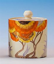A Clarice Cliff Bizarre 'Rhodanthe' pattern preserve pot and cover c.1935, the cylindrical pot with flat cover with knop finial,