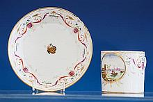 A Pinxton porcelain large coffee can and saucer c.1800,
