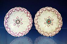 Eight Meissen vine leaf design plates blue crossed swords to underside, incised 'Z99b', late 19th century,