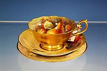 A Royal Worcester cabinet cup and saucer waved rim cup interior decorated with pears and blackberries,