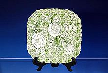 A Liberty pattern salad plate by Johnson Bros. square in form with scalloped rim, green chintz liberty floral pattern on ivory ground,