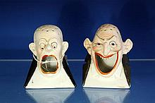 Two grotesque match holders early 20th century, by Shafer and Vater, Germany,