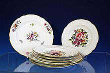 A set of three Spode Felspar Porcelain floral decorated cabinet plates c.1825, with shaped gilt lined rims,