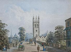George Pyne, AOWS (British, 1800-1884) Magdalen Bridge, Oxford