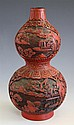 A Chinese cinnabar lacquer style double gourd vase 20th century, moulded resin,