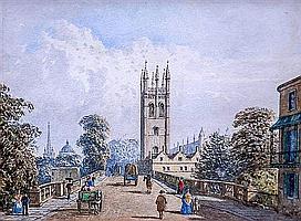 George Pyne (British, 1800-1884) Magdelene Bridge, Oxford