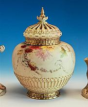 A Royal Worcester pot pourri of compressed ovoid form, chrysanthemum sprays over a blush ivory ground,