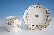 A Pinxton large coffee can and saucer c.1800, the cylindrical can with moulded scroll handle and impressed cursive letter 'P' to base
