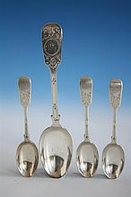 A Channel Islands silver fiddle pattern table spoon hallmarked London 1899, maker's mark overstruck CTM (Charles T. Maine, Jersey,