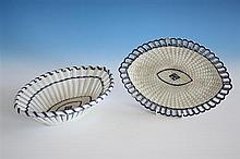 An English pearlware chestnut basket and stand c.1800, of navette form,