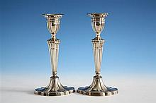 A pair of Elizabeth II silver candlesticks S. J. Rose & Son, Birmingham 1968, in the Georgian style,
