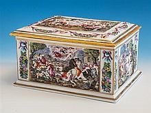 A large 19th century Capo-di-Monte porcelain table casket of rectangular form with slightly domed cover,