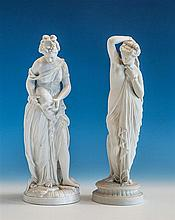 A Parian ware figure of a classical maiden late 19th century, partially covered in a draped robe,