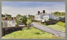 "James Cleaver, ARCA (British, 1911-2003) ""Houses near Fermain Bay, Guernsey""watercolour,"
