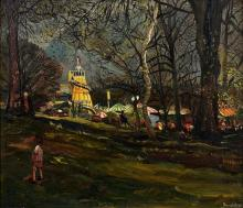 "Sir Francis Ferdinand Maurice Cook Bt. (British, 1907-1978) ""Fair on Hampstead Heath, Easter Bank Holiday"" oil on board,"