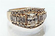 An 18ct yellow gold and diamond ring 1940s-50s,
