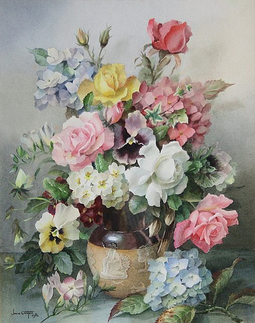 Jack Carter (British, 1912-1992) Still life of roses, hydrangeas and other flowers in a hunting jug