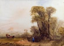 Jean Le Capelain (Jersey, 1812-1848) Figure on a country lane near Gorey, Mont Orgueil in the distancewatercolour, unsigned,