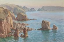 Arthur Basset Waller (British, 1882-1974.) A group of three Sark coastal scenes, to include Brecqhou from Sarkone signed lower left,