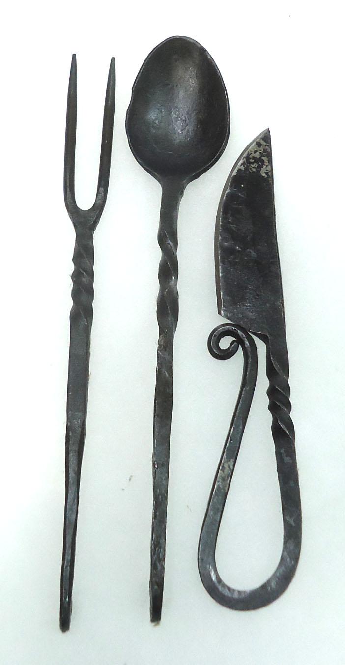 3pc wrought iron utensil set - Wrought iron silverware ...