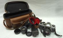 Chinon 35mm Camera, 3 lens, & acces.