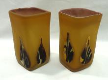 Pr. Hand Blown Art Glass Vases
