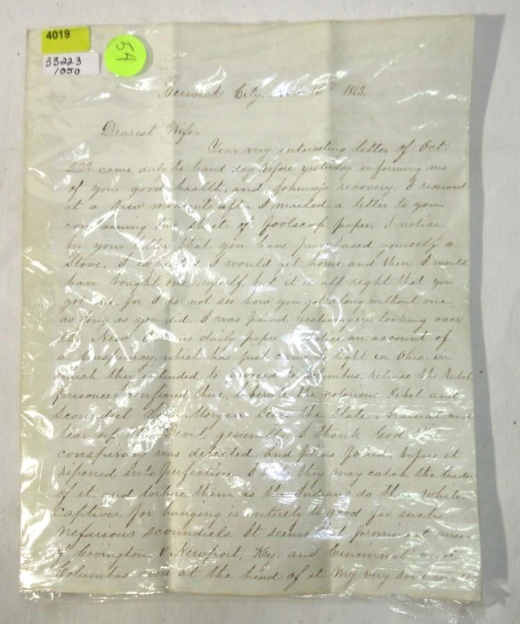 1863 Descriptive Civil War Letter from Union Officer w/ Envelope