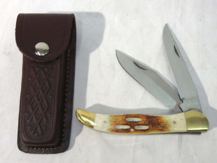 Bone Handle Pocket Knife w/ Sheath