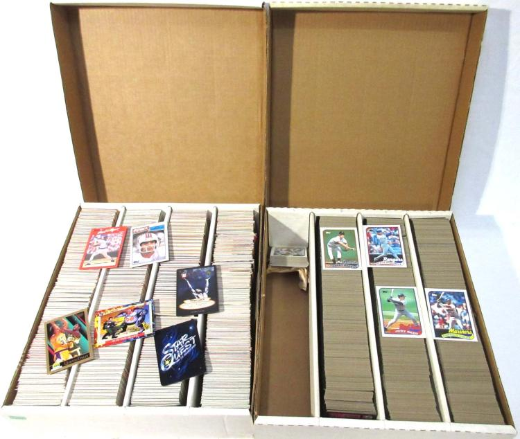 2 Boxes '89-'90's Baseball, Football, & Other Cards