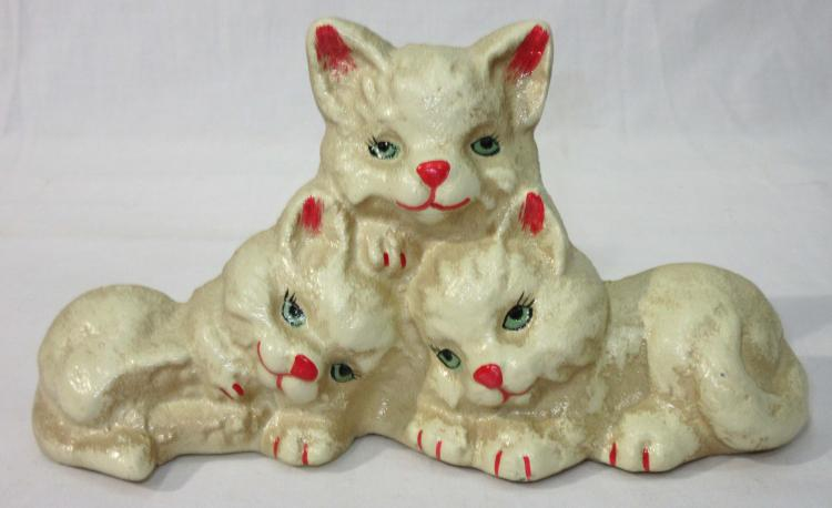 Modern Cast Iron Kittens Door Stop