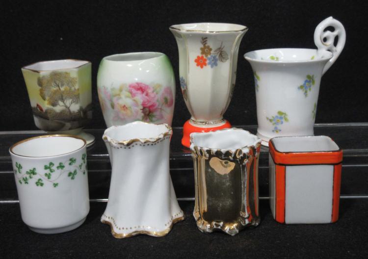 8 Vtg. Porcelain Toothpick Holders