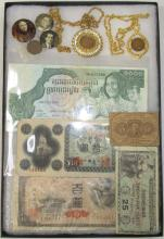 Various Currency, Coins & Pinbacks