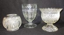 Sgnd Heisey Cut Glass Vase & 2 Others