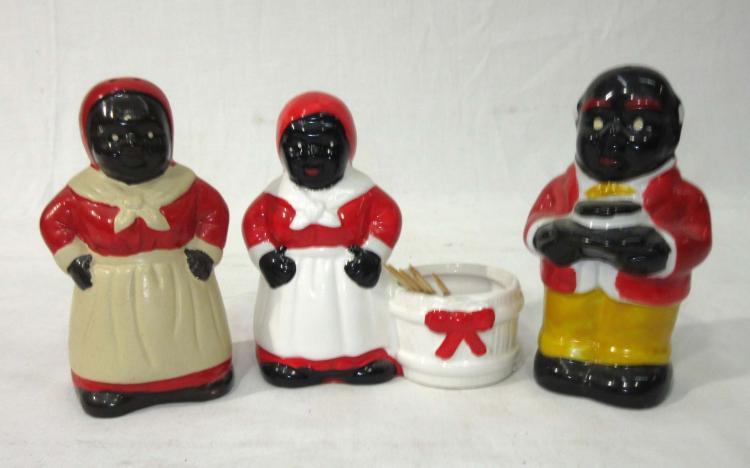 Modern Black Americana Salt, Pepper & Toothpick Holder