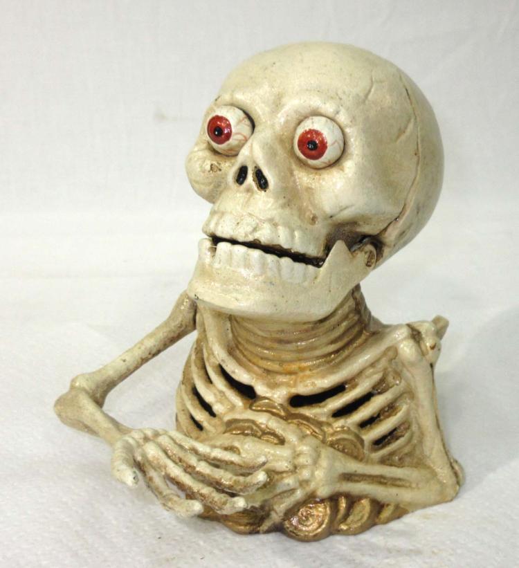 Modern Cast Iron Skeleton Mechanical Bank