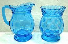 Blue Thumbprint Cream & Sugar