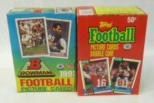 1990 Topps & 1991 Bowman Boxes Football Cards