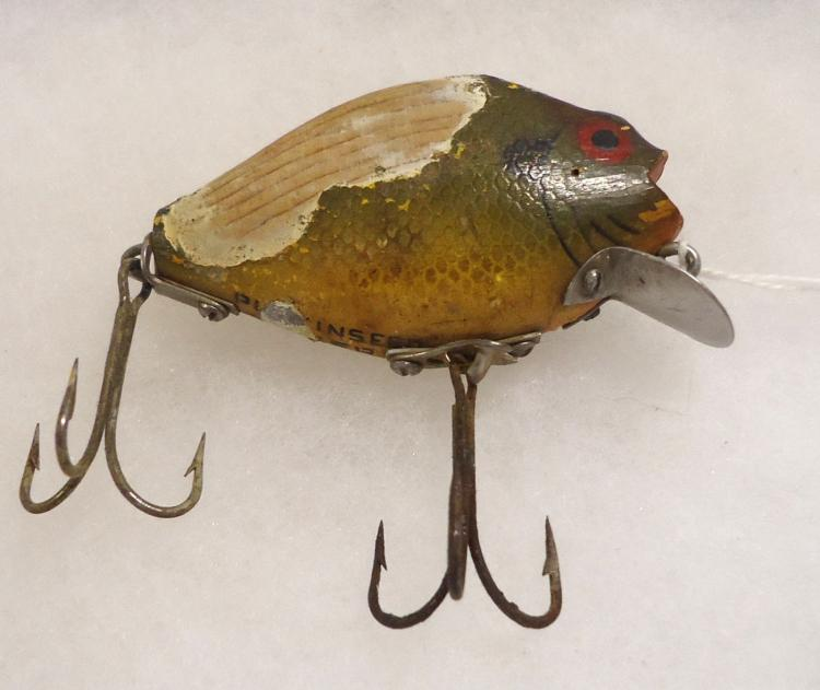 Vintage wooden pumkinseed fishing lure for Antique wooden fishing lures