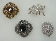 4 Costume Brooches