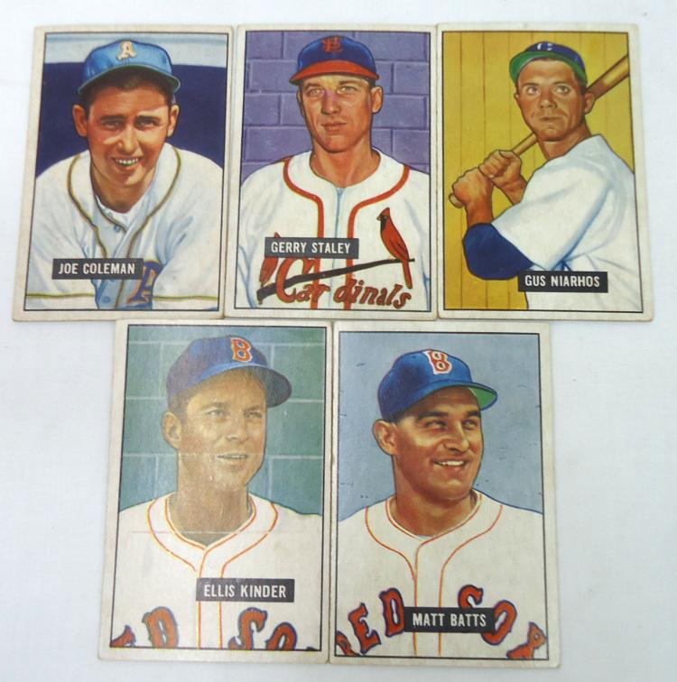 Lot 84 5 Bowman 1951 Baseball Cards