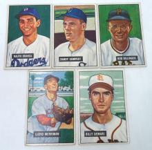 5 Bowman 1951 Baseball Cards