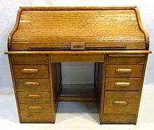 Oak S-Roll Top Desk