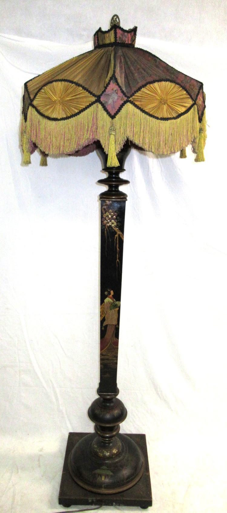 Oriental wood victorian floor lamp for Oriental wood floor lamp